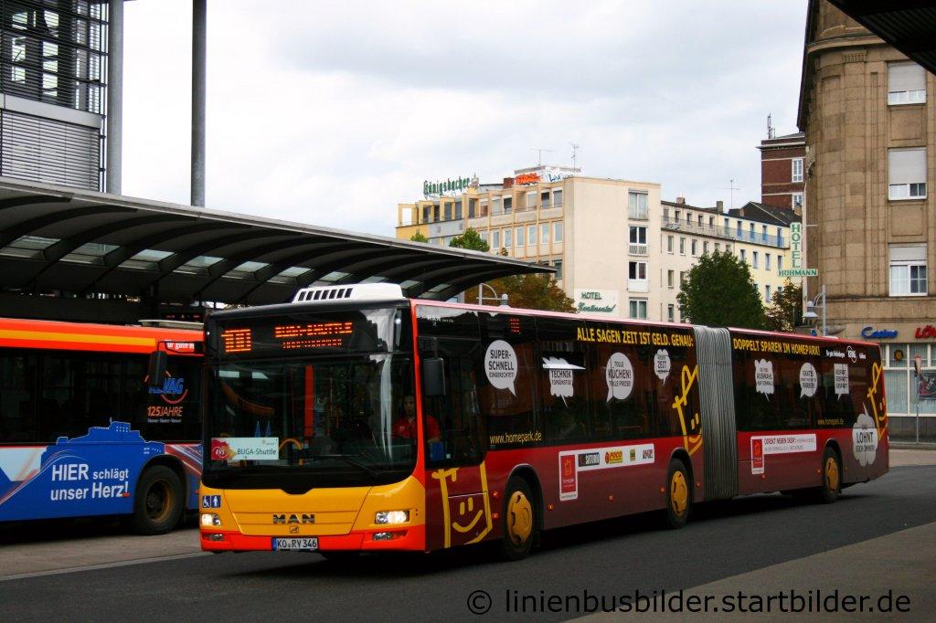 kevag 346 kommt mit der linie 100 am hbf koblenz an der bus wirbt f r homepark aufgenommen am. Black Bedroom Furniture Sets. Home Design Ideas