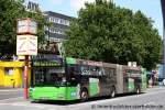 MAN Niederflurbus 2. Generation/165763/wsw-0167der-bus-wirbt-fuer-das WSW 0167. Der Bus wirbt für das VRR Schokoticket. Aufgenommen am HBF Wuppertal.